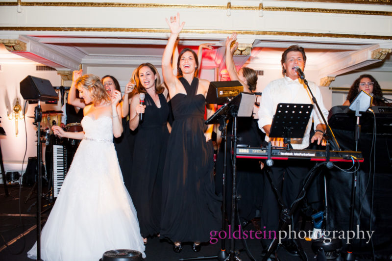Bridesmaids and Bride singing with John Parker Band at William Penn Hotel in Pittsburgh