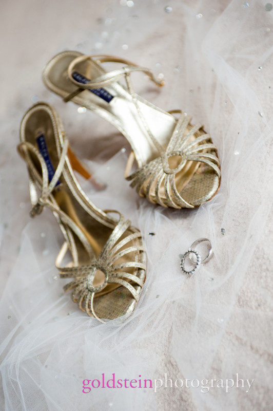 Gold Bridal Strap Sandals and Wedding Rings